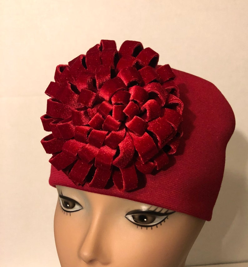 Velvet Loop Flower Red Knit Hat Velvet Flower Hat Gift for image 0