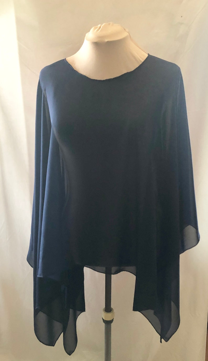 Navy Summer Poncho Women Womens Blouse Upscale Summer image 0