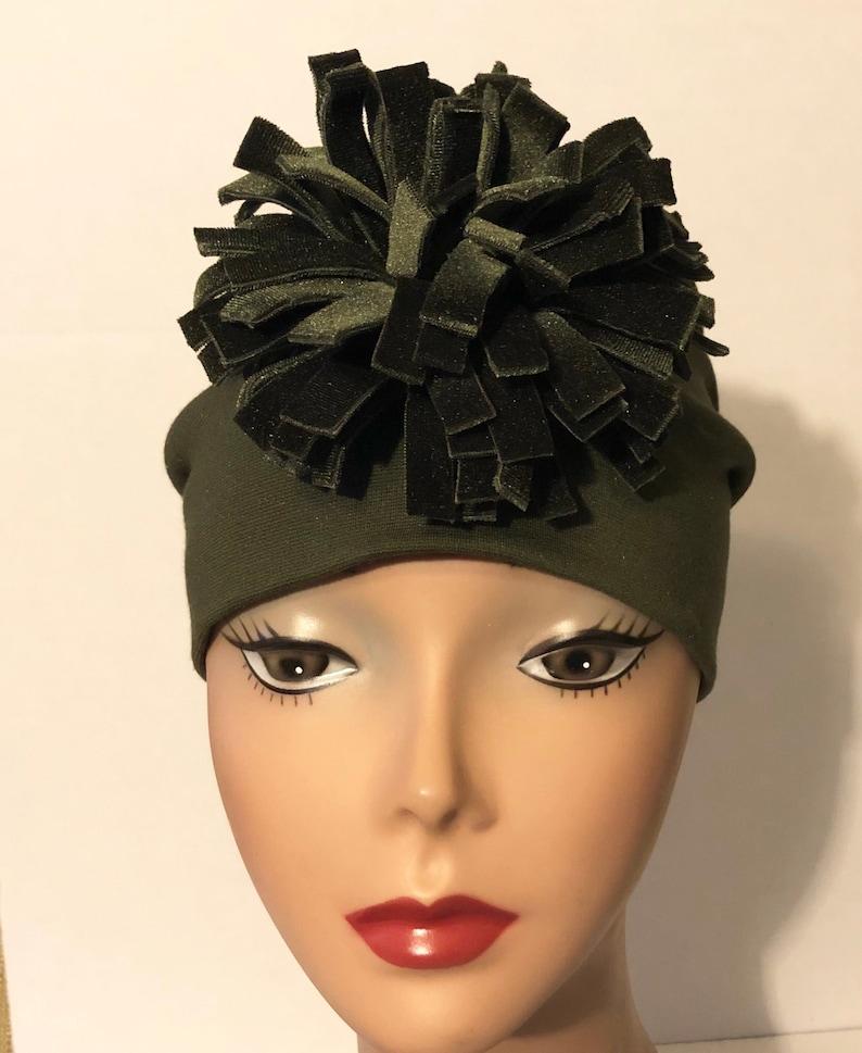 Green Knit Fashion Hat Green Velvet  Pom Pom Flower Womens image 0