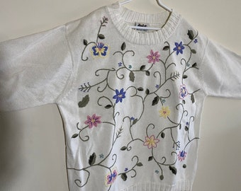 Northern reflections embroidered floral cream sweater cottagecore