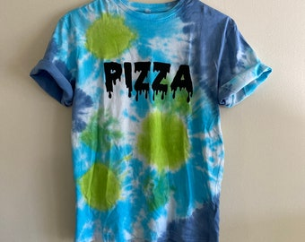 drippy pizza spiral tie dye tshirt | psychedelic blue and green shirt size medium