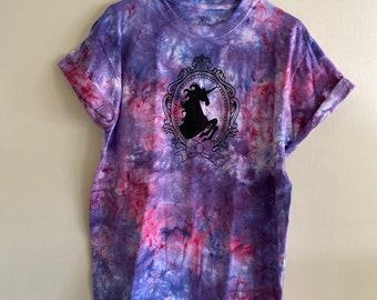 Pink and purple tie dye unicorn shirt | hand dyed UNICORN cameo shirt