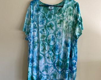 Blue tone bubble tie dye shirt | XXL silk feel cotton blouse