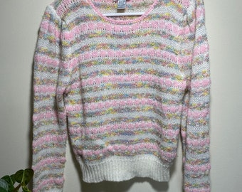 Pastel cottage multi colored striped vintage sweater