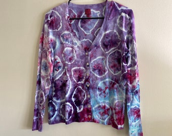 jewel tone tie dye bubble cardigan | tie dyed button up sweater | colorful psychedelic sweatshirt