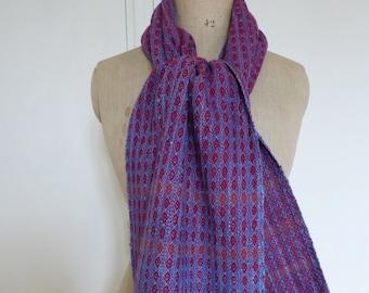 Handwoven Mens/Womens Warm Scarf Silk, Wool, Cotton Blue, Red