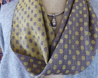 Handwoven Steel Grey and Gold Polka Dot Silk Circle Scarf, Hand Dyed by Tisserande