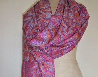 Handwoven Hand Dyed Shimmering Silk Wrap/Shawl