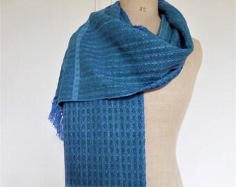 Handwoven Mens/Womens Warm Scarf Silk, Wool, Cotton