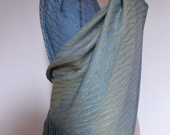 Handwoven Naturally Dyed  with Saxon Blue Indigo and Coreopsis Flowers Silk Shawl/Wrap