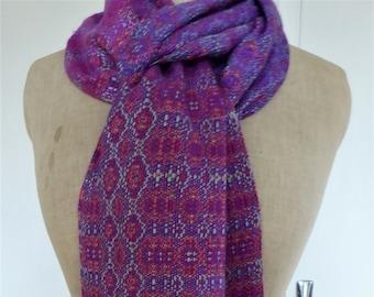 Handwoven Hand Dyed Silk Scarf, Unique Design by Tisserande