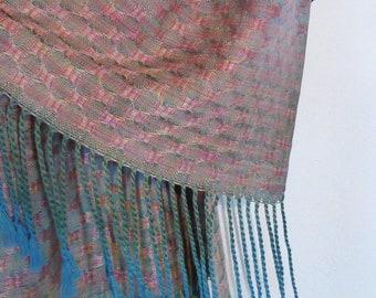 Handwoven Silk Wrap/Scarf, Handpainted Silks