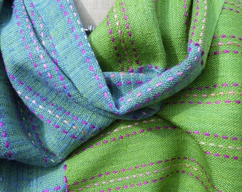 Handwoven Hand Dyed Silk Shawl/Wrap/Blanket Scarf with Hand Stitching