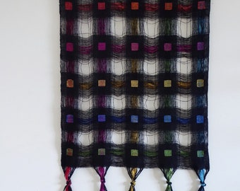 Handwoven Silk Wall Hanging, Black Bourette with Hand Dyed Silk Jewel Squares