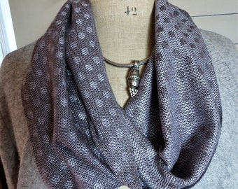 Handwoven Silk Circle Scarf with Polka Dots, Hand Dyed by Tisserande