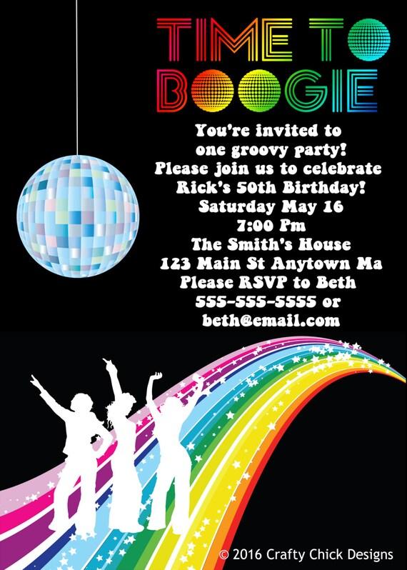 disco party invitations disco invitation disco birthday etsy
