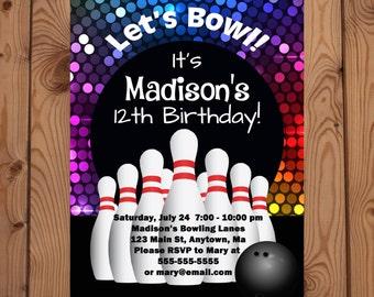 Bowling Party Invitations - Bowling Birthday Invitation - Bowling Party - Bowling Party Invitation - Retro Bowling Invitation - Digital