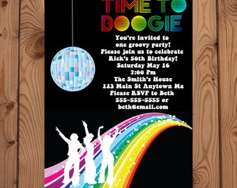 Disco Party Invitations - Disco Invitation - Disco Birthday - Dance Party Invitation - 70s Party - 70s Invitations - Digital Invitation