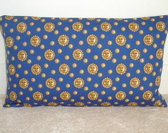 Neck roll pillow cover navy yellow gold