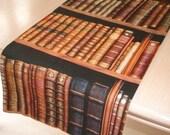 48 quot Table Runner 4ft Brown Gold Black Books 120cm NEW Book Spines Library Shelf Bookshelf Bookshelves Shelves Console Washable