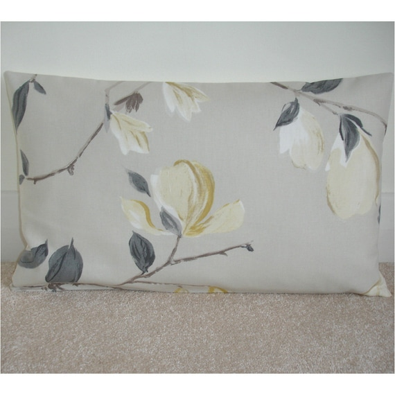 "20/"" Cushion Cover Duck Egg Blue Ivory Magnolia Branches Taupe Beige Trees"