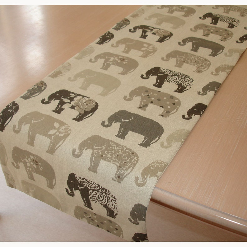 Grey Elephants Long Table Runner 96 Gray Charcoal Taupe Beige Elephant 8ft 240cm Coffee Piano Topper Decorative