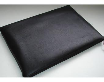 "13"" Macbook Pro Case Cover Pouch Sleeve Black Faux Leather Leathergrain Leatherette Fleather PVC Leather Look"