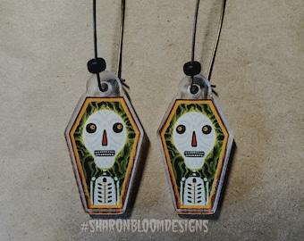 Halloween Dia De Los Muertos Skelton Coffin Acrylic Earrings by Sharon Bloom Designs