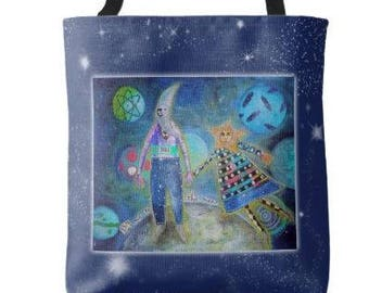 Fly Me To The Moon Tote Bag Grocery Book Bag from Sharon Bloom Designs