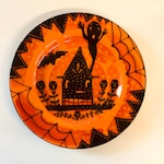 Halloween Ceramic Haunted House  Retro Halloween Dinner Plate Hand Painted from Sharon Bloom Designs