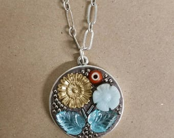 Mosaic Glass Beads Pendant Necklace by Sharon Bloom Designs
