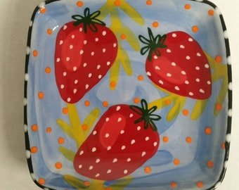 Red Juicy Strawberries Light Blue Ceramic Square Dish Hand Painted by Sharon Bloom Designs