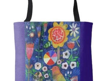 Color Wheel Bird Tote Bag Grocery Book Bag from Sharon Bloom Designs