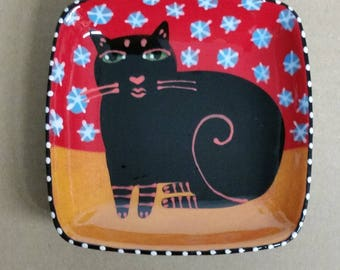 Black Cat Ceramic Square Dish Hand Painted by Sharon Bloom Designs