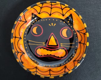 Halloween Black Cat Scaredy Cat Small Ceramic Bowl Hand Painted by Sharon Bloom Designs