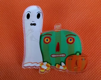 Halloween Ghost Pumpkins Candy Corn Spooky Acrylic Scatter Pin by Sharon Bloom Designs