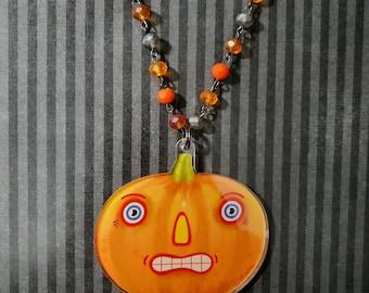 Halloween Pumpkins Jack-O-Lantern Acrylic Necklace by Sharon Bloom Designs