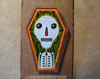 Halloween Dia De Los Muertos Skeleton Coffin Acrylic Scatter Pin by Sharon Bloom Designs