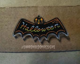 Halloween Bat Pumpkin Head Spooky Acrylic Scatter pin