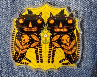 Halloween Black Cats Spooky Acrylic Scatter Pin by Sharon Bloom Designs