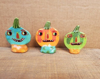 Halloween Freestanding Pumpkins Jack-O-Lantern Sculptures Set of 3  Handmade by Sharon Bloom Designs
