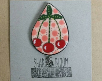 Ceramic Cherries Brooch Pin Handmade by Sharon Bloom Designs