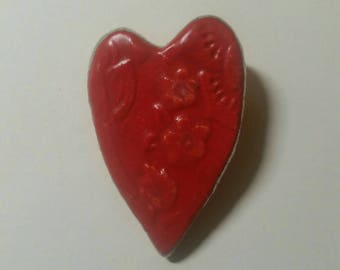 Ceramic Embossed Red Heart Brooch Pin Valentine's Day Handmade by Sharon Bloom Designs