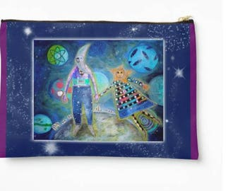 Large Zipper Pouch Fly Me To The Moon designed by Sharon Bloom Designs