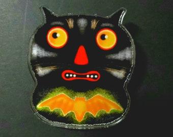 Halloween Black Cat Bat Spooky Acrylic Scatter Pin by Sharon Bloom Designs