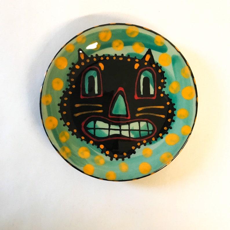 Halloween Ceramic Scaredy Cat Fraidy Cat Mini Plate Hand image 0