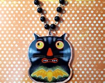 Halloween Bat Cat Fraidy Cat Acrylic Necklace by Sharon Bloom Designs