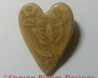 Ceramic Embossed Green Citron Heart Brooch Pin Valentine's Day Handmade by Sharon Bloom Designs