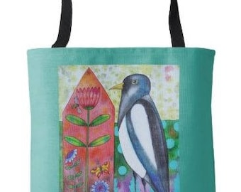 Flora and Fauna Magpie House Tote Bag Grocery Book Bag from Sharon Bloom Designs