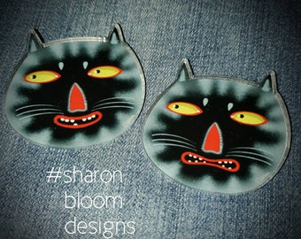 Black Cat Faces Happy Scared Catitude Acrylic Scatter Pin SET OF TWO by Sharon Bloom Designs